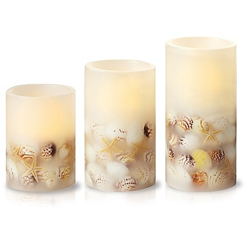 Loft Living 3 Piece Led Flameless Seashell Pillar Candle