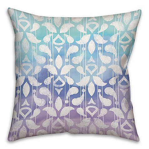 Cool blues watercolor square throw pillow bed bath beyond for Cool couch pillows
