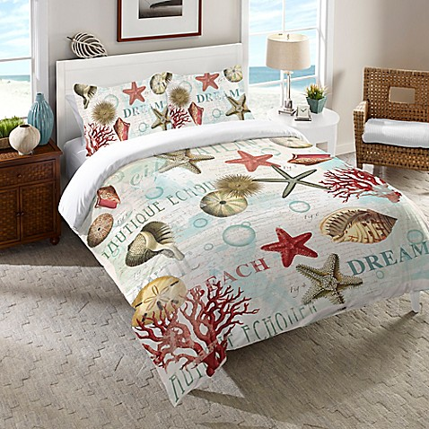 Laural Home® Dream Beach Shells Comforter in Red