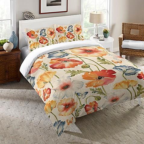 Laural Home 174 Watercolor Poppies Comforter In Orange Bed