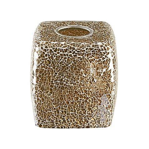 Buy gold crackle mosaic glass tissue box cover from bed for Gold mosaic bathroom accessories