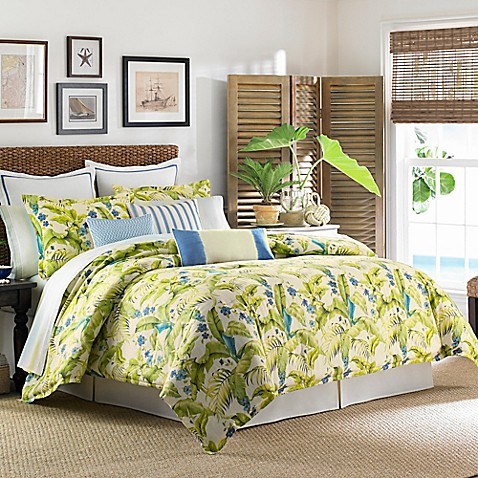 Tommy Bahama 174 Blue Palm Duvet Cover Set In Sea Glass Bed