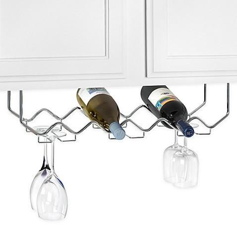 buy under counter 6 bottle wine rack with stemware holder. Black Bedroom Furniture Sets. Home Design Ideas