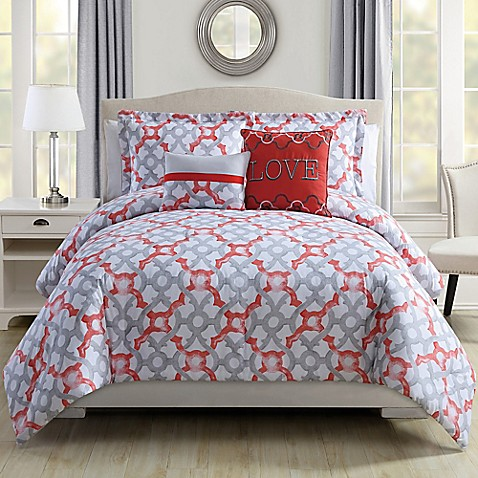 love comforter set in coralgrey bed bath amp beyond