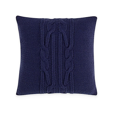 Buy Nautica Bartlett Knit 16-Inch Square Throw Pillow in Navy from Bed Bath & Beyond