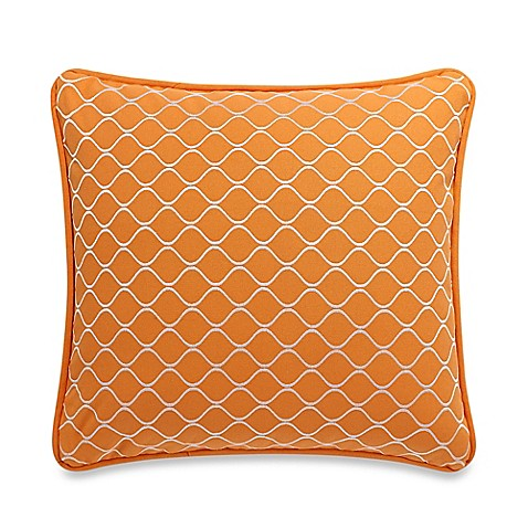 Orange Throw Pillows For Bed : HiEnd Accents Capri Geometric Square Throw Pillow in Orange - Bed Bath & Beyond