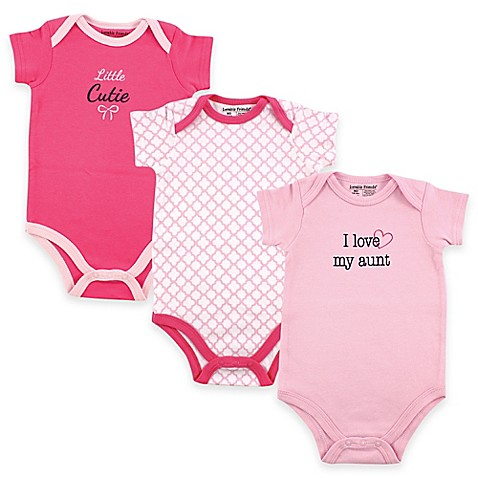 "Baby Vision® Luvable Friends® Size 9 12 M 3 Pack ""I Love My Aunt"" Bodysuits In Pink by Bed Bath And Beyond"
