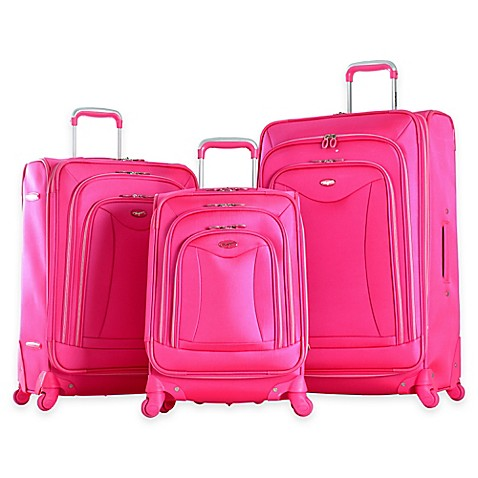 buy olympia usa luxe 3 piece 4 wheel expandable spinner luggage set in pink from bed bath beyond. Black Bedroom Furniture Sets. Home Design Ideas