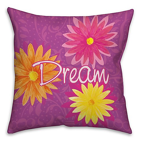 Dream Flowers Throw Pillow In Purple Pink Yellow Bed