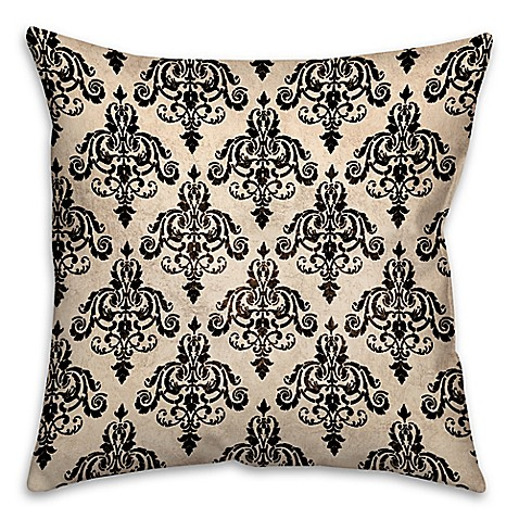 White Square Throw Pillows : Damask 18-Inch Square Throw Pillow in Black/White - Bed Bath & Beyond