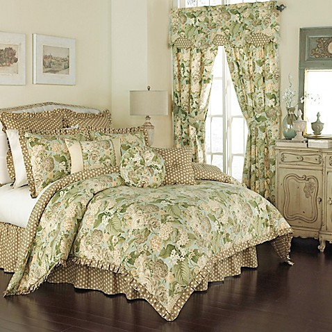 Waverly 174 Garden Glory Reversible Comforter Set In Mist