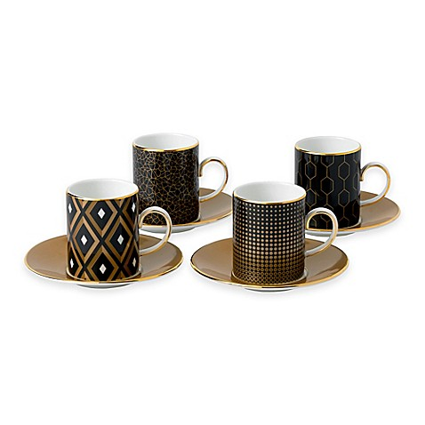 Wedgwood® Arris Accent Espresso Cups and Saucers (Set of 4) at Bed Bath & Beyond in Cypress, TX | Tuggl