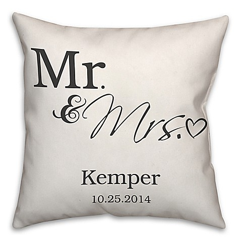"""""""Mr. and Mrs."""" Scripted Heart Square Throw Pillow in White at Bed Bath & Beyond in Cypress, TX   Tuggl"""