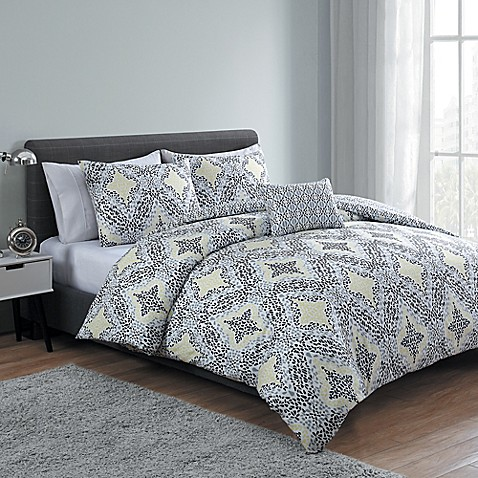 Vcny Connell 4 Piece Reversible Comforter Set In Yellow
