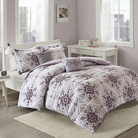 Cozy Soft 174 Cassy Comforter Set In Purple Grey Bed Bath
