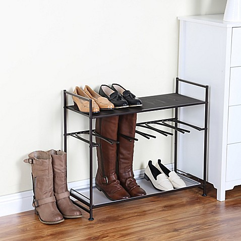 stackable boot and shoe rack in bronze bed bath beyond
