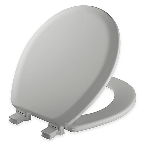 buy mayfair round molded wood toilet seat in silver with