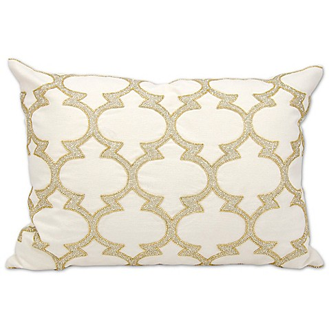 Michael Amini Lanterns Rectangle Throw Pillow in Silver/Gold - Bed Bath & Beyond