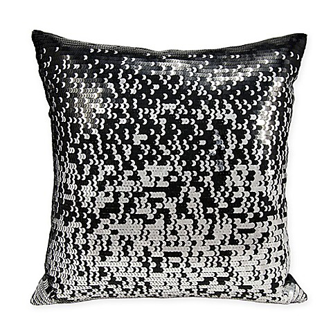 Black Throw Pillows Bed Bath And Beyond : Buy Michael Amini Gradual Sequin Square Throw Pillow in Black from Bed Bath & Beyond