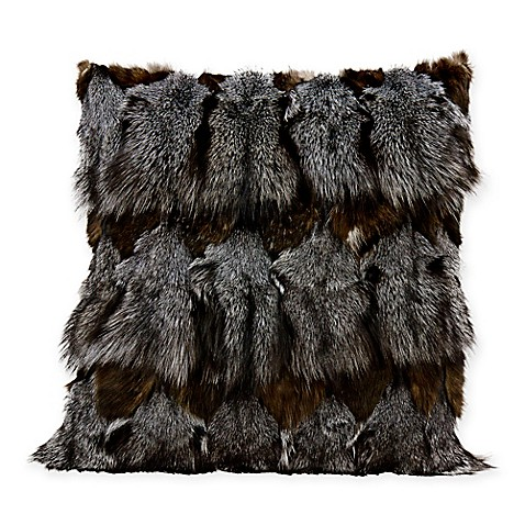 Mina Victory Couture Square Fox Fur Throw Pillow In Dark