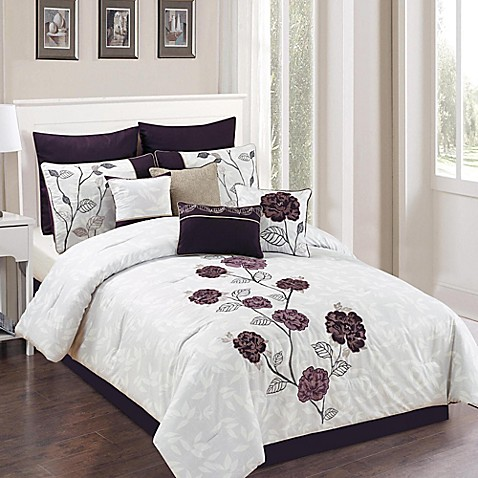 Abigail 10 Piece Comforter Set In Plum Grey Bed Bath