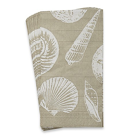 Caspari Shells And Sand 16 Count Paper Guest Towels Bed
