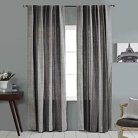Linen Stripe Vertical Stripe Rod Pocket Back Tab Window