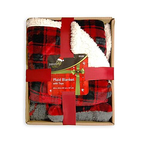 Pawslife Plaid Fleece Dog Blanket Bone Gift Box With Toys