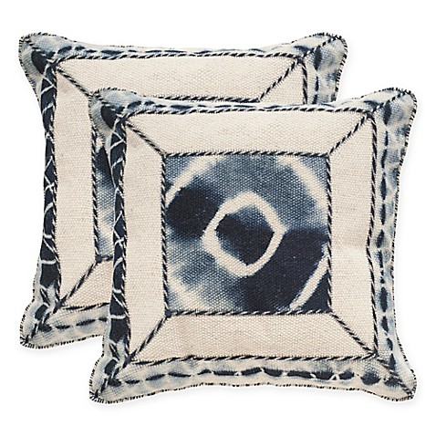 24 Square Throw Pillows : Buy Safavieh Dip-Dye Patch 24-Inch Square Throw Pillows in Medina Blue (Set of 2) from Bed Bath ...
