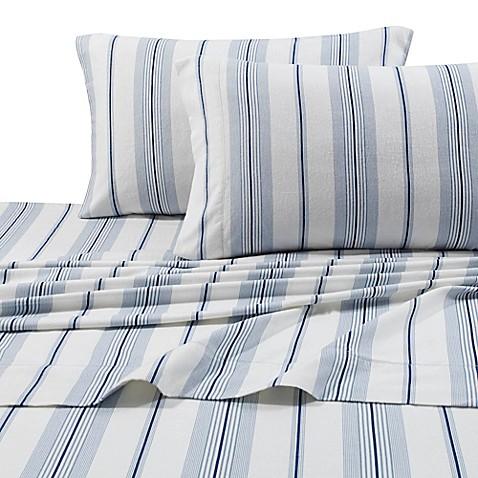 Buy Stripe Print 200 Gsm Deep Pocket Twin Flannel Sheet