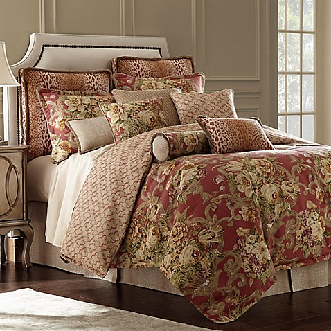 Rose Tree Durham Reversible Comforter Set In Coral Bed