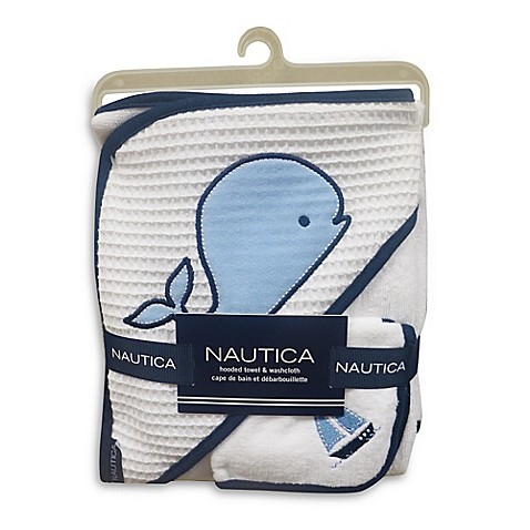 Bath Towels Nautica 2 Piece Hooded Towel And Washcloth Set In Navy From Buy Buy Baby