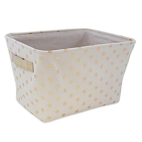 Buy closet complete metallic canvas storage bin in gold for Gold bathroom bin