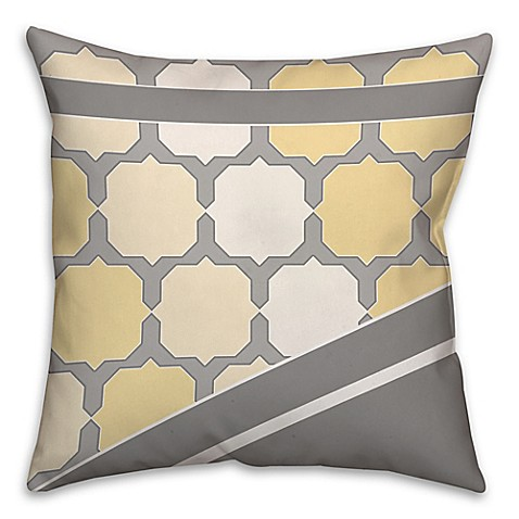 Square Throw Pillow Pattern : Buy Jagged Octagon Pattern Square Throw Pillow in Yellow/Grey from Bed Bath & Beyond