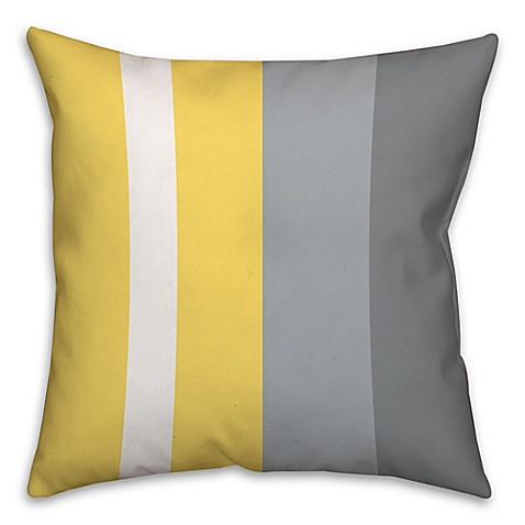 Yellow Decorative Pillows For Bed : Buy Striped Color Block Square Throw Pillow in Yellow/Grey from Bed Bath & Beyond