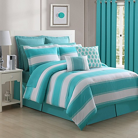 Buy Fiesta Cabana Stipe Turquoise Comforter Set From Bed Bath Beyond