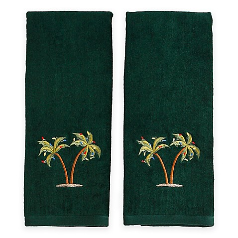 Coastal Palm Tree Hand Towels In Evergreen Set Of 2
