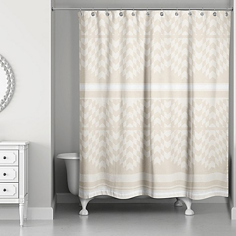 Funky Chevron Shower Curtain In Cream Ivory Bed Bath
