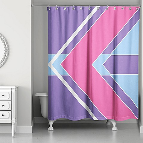 Bold Color Block Shower Curtain In Pink Purple Bed Bath