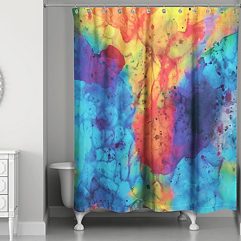 Watercolor Overture Shower Curtain In Blue Yellow Bed