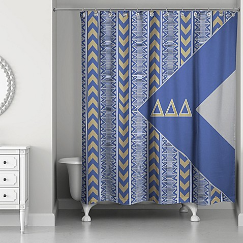 Buy Delta Delta Delta Shower Curtain In Blue Grey Gold From Bed Bath Be