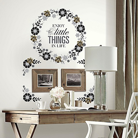 Floral Wreath Quote Peel And Stick Wall Decals With 3d