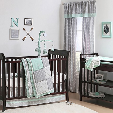 The Peanut Shell Woodland Crib Bedding Collection In Grey Mint Buybuy BABY
