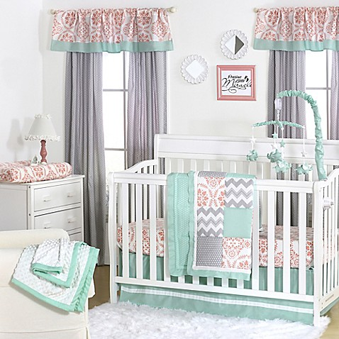 Coral Mint And Gold Baby Bedding