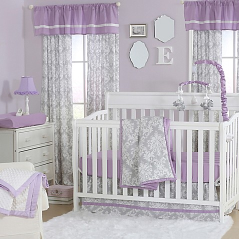 The Peanut Shell 174 Damask Crib Bedding Collection In Purple