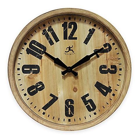 Infinity Instruments Wooden Barrel Wall Clock Bed Bath