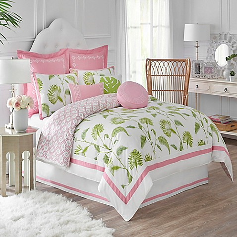 Dena Home Palm Court Reversible Comforter Set In White
