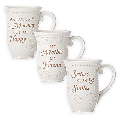 Lenox® French Perle Sentiment Mug Collection in White at Bed Bath & Beyond in Cypress, TX | Tuggl