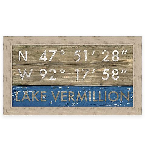 Retro Style Framed Quot Lake Vermillion Quot Map Coordinates Sign