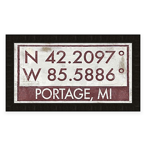 Buy portage mi coordinates framed wall art from bed bath for Furniture world bremerton
